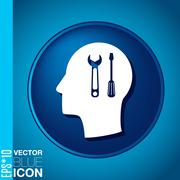 Vector icon head think silhoutte vector man and his mind about symbol setting Stock Illustration
