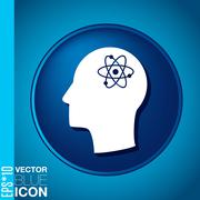 Vector icon head think silhoutte vector man and his mind about the atom, mole Stock Illustration