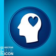 vector icon head think silhoutte vector man and his mind about  heart symbol - stock illustration