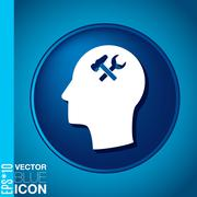 vector icon head think silhoutte vector man and his mind about  symbol settin - stock illustration