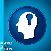 Vector icon head think silhoutte vector man and his mind about  lightbulb. ch Stock Illustration