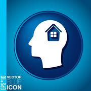 vector icon head think silhoutte vector man and his mind about  house icon. h - stock illustration