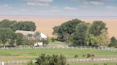 Farm with horses rural landscape Stock Footage
