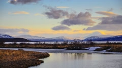 Timelaspe of sunset in Iceland, land of ice and fire Stock Footage