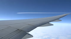 0501 Passenger plane viewed from another transoceanic vehicle - stock footage