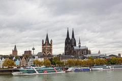 rhine embankment in cologne, germany - stock photo