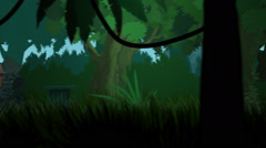 Skeletons Running After Traveler. Haloween Jungle Stock Footage