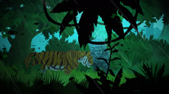 Tiger Walking In Jungle During Rain.Tropical Wild Stock Footage