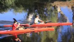 Kayaks float on the river yarkon .tel aviv. israel Stock Footage