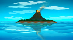 Volcanic Island. Danger Lava Eruption Stock Footage