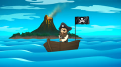 Pirate On Boat In Ocean. Danger Alone Surviver Stock Footage
