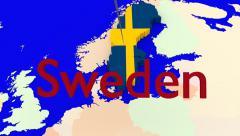 Worldmap Zooms to Sweden Stock Footage