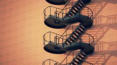 Staircase Attached On Brick Wall Stock Footage