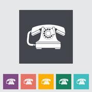 Vintage phone flat icon. - stock illustration