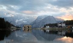 Reflection at Lago di Misurina at dawn, Dolomites, Italian Alps Stock Photos