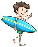 A simple drawing of a boy going to the beach with a surfing board - stock illustration