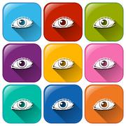 Buttons with the sense of sight - stock illustration