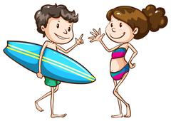 A simple sketch of two people going to the beach - stock illustration