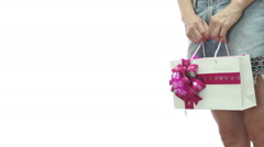 Girl Skirt Gift Bag Pink Copyspace Stock Footage