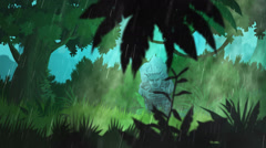 Forest During Monsoon. Jungle Tropical Rain Stock Footage