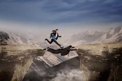 businessteam work together to pass the gap - stock illustration
