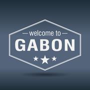 Stock Illustration of welcome to gabon hexagonal white vintage label
