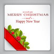 merry christmas card with holly - stock illustration