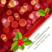 merry christmas card with bokeh - stock illustration