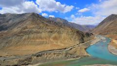 Panorama in the Indus River valley view from the mountain road Stock Footage