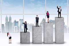 entrepreneurs standing on the ranking bars - stock illustration