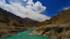 Panorama from the mountain road next to the river Indus Stock Footage