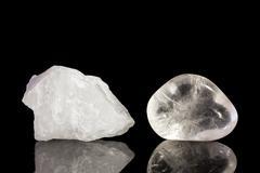 Quartz crystal, uncut and tumble finishing Stock Photos