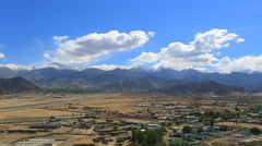 Panorama of the valley from the roof of the monastery Stock Footage