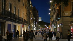 Barcelona City Streets at Night Stock Footage