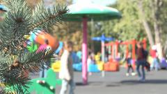 Children Playing at Playground, Family, Parents with Kids in Park, People Stock Footage