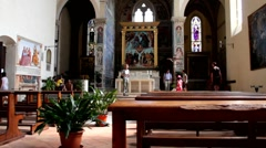 Interior of La Collegiata cathedral, San Gimignano, Tuscany Stock Footage