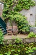 idyllic outdoor seating - stock photo