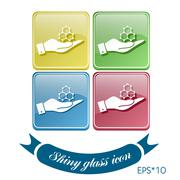 hand holding a chemical compound. symbol chemistry. icon science - stock illustration