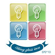 lightbulb. character ideas. incandescent lamp . icon of electric light - stock illustration