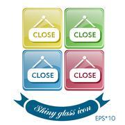 close label sign. symbol icon tablet closed - stock illustration