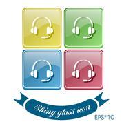 customer support, headphone icon - stock illustration