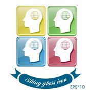 vector icon head think silhoutte vector man and his mind about  globe symbol. - stock illustration