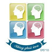 vector icon head think silhoutte vector man and his mind about brain.  mind a - stock illustration