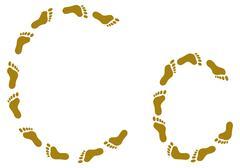 Traces, letter C - stock illustration