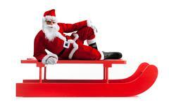 christmas sledge with santa claus - stock photo