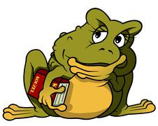 Thoughtful Frog With Book - stock illustration