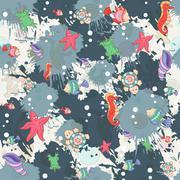 Seamless abstract marine life.Seamless pattern with sea inhabita - stock illustration