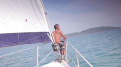 Man on Sailing Yacht Thailand Holiday Stock Footage
