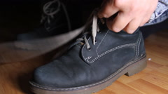 Woman Hands Taking Of Shoelace From Her Boot, Shoelace, Hands, Boot, Detail Stock Footage