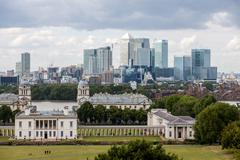 london -august 12: queens house with the skyline of canary wharf behind  on a - stock photo